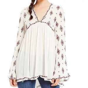 NWT Free People ivory embroidered tunic top L